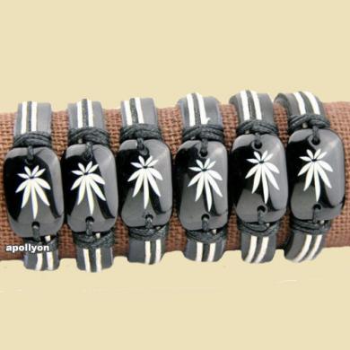 Armband Leer Wietblad Zwart Wit