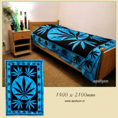 Batik Throw-Over Marijuana Leaves