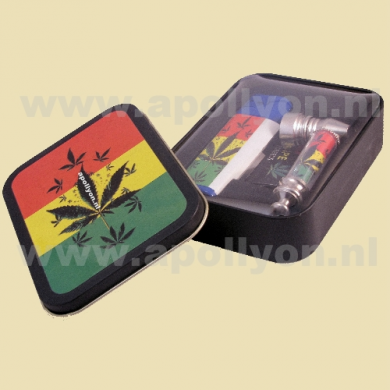 Tin Can Large Filled Rasta Multi Weed Leaves