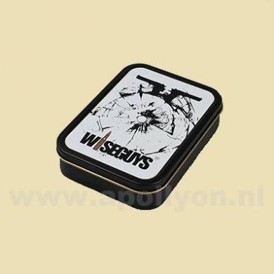 Box Vierkant Tin Wiseguys Wit Kogelgat 2 (8x11cm)