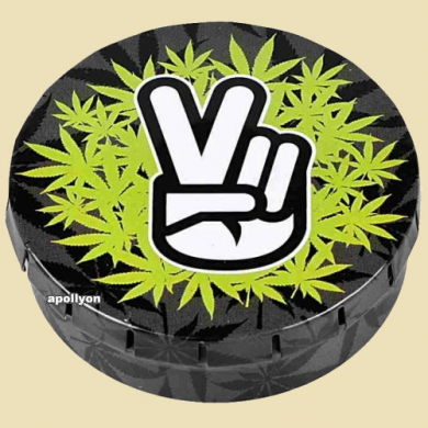 Click-Clack Tin Can Weed Peace 5,5cm