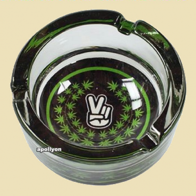 Glass Ashtray Weed Leaf Peace