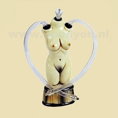 Ceramic Waterpipe Torso woman white 23cm