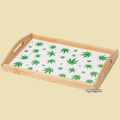 Roll Tray Weed Leaves White