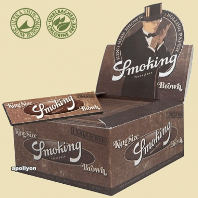 Smoking Brown Ongebleekte Vloei Kingsize Slim Box