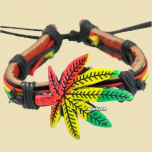 Bracelet Leather Rasta Cannabis Leaf